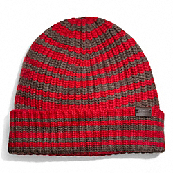 COACH CASHMERE STRIPED RIBBED KNIT CAP - RED - F83147