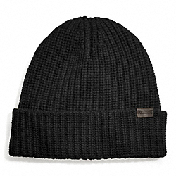 COACH CASHMERE SOLID RIBBED KNIT CAP - ONE COLOR - F83148