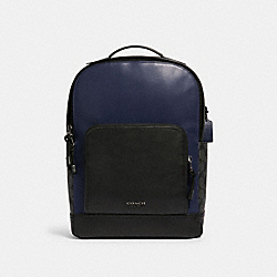GRAHAM BACKPACK IN COLORBLOCK SIGNATURE CANVAS - QB/CHARCOAL CADET - COACH F83266