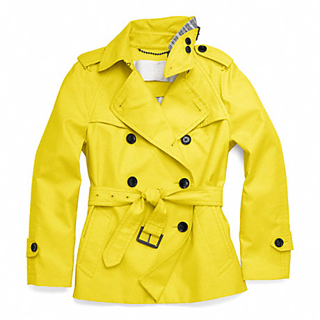 COACH CLASSIC SHORT TRENCH - YELLOW - f83349