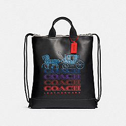 TERRAIN DRAWSTRING BACKPACK WITH OMBRE COACH - QB/BLACK MULTI - COACH F83412
