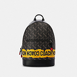WEST SLIM BACKPACK WITH HORSE AND CARRIAGE PRINT - QB/BLACK MULTI - COACH F83425