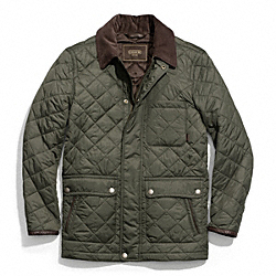 QUILTED HACKING JACKET - OLIVE - COACH F83611
