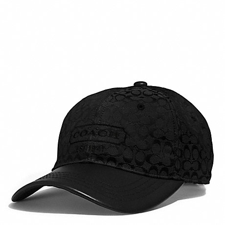 COACH SIGNATURE JACQUARD BASEBALL CAP - BLACK - f83614