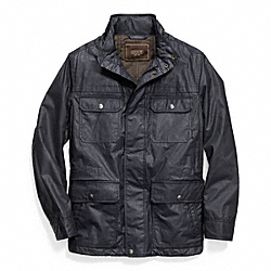 COACH WAXED COTTON FIELD JACKET - NAVY - F83616