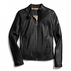 COACH ZIP LEATHER JACKET - BLACK - F83635