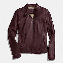 ZIP LEATHER JACKET - GARNET - COACH F83635