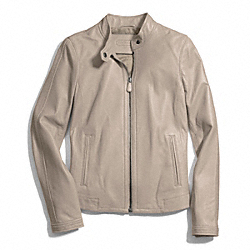COACH ZIP LEATHER JACKET - TAUPE - F83635