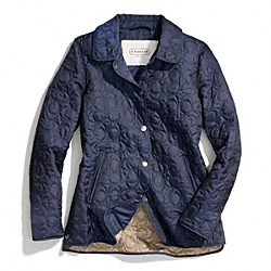 SIGNATURE C QUILTED HACKING JACKET - NAVY - COACH F83637