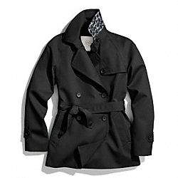 COACH SOLID SHORT TRENCH COAT - BLACK - F83641