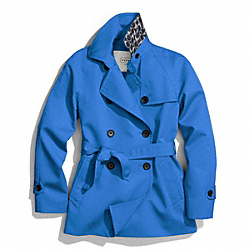 COACH SOLID SHORT TRENCH COAT - FRENCH BLUE - F83641