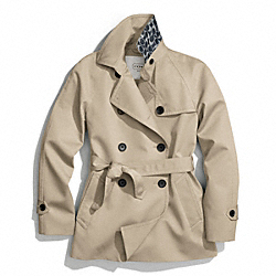 COACH SOLID SHORT TRENCH COAT - KHAKI - F83641