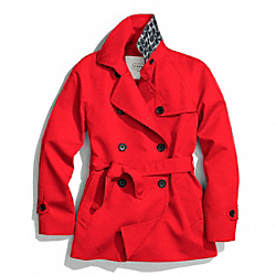 COACH SOLID SHORT TRENCH COAT - VERMILLION - F83641