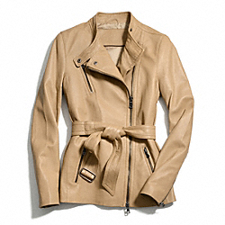 COACH BELTED FASHION LEATHER JACKET - CAMEL - F83649