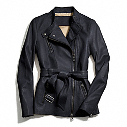 COACH BELTED FASHION LEATHER JACKET - NAVY - F83649