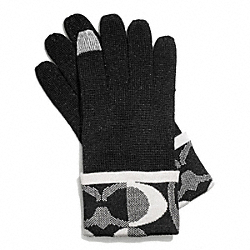 COACH TONAL DREAM C KNIT TOUCH GLOVE - BLACK/SILVER - F83721