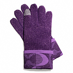COACH TONAL DREAM C KNIT TOUCH GLOVE - VIOLET MARINE/SILVER - F83721