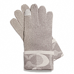 TONAL DREAM C KNIT TOUCH GLOVE - GRAY/SILVER - COACH F83721
