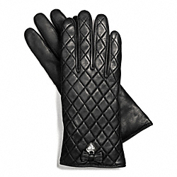 LEATHER QUILTED BOW GLOVE - SILVER/BLACK - COACH F83722