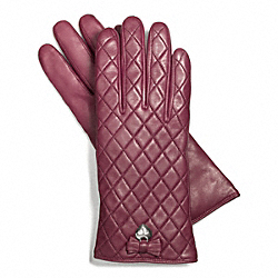 LEATHER QUILTED BOW GLOVE - SILVER/SHERRY - COACH F83722