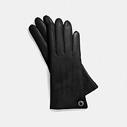 LEATHER CASHMERE LINED GLOVE - SILVER/BLACK - COACH F83726