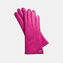 LEATHER CASHMERE LINED GLOVE - SILVER/FUCHSIA - COACH F83726
