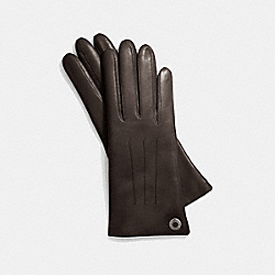 COACH LEATHER CASHMERE LINED GLOVE - SILVER/MAHOGANY - F83726