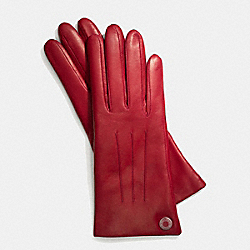 LEATHER CASHMERE LINED GLOVE - SILVER/RED - COACH F83726