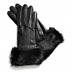 FUR CUFF LEATHER GLOVE COACH F83731