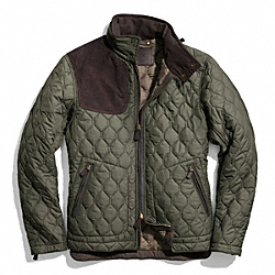 BOWERY QUILTED SUEDE GUN PATCH JACKET COACH F83742