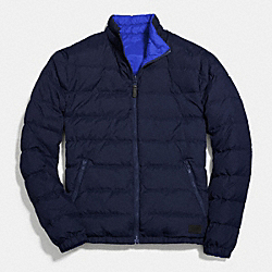 COACH PACKABLE REVERSIBLE DOWN JACKET - NAVY/DENIM - F83743