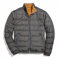 COACH PACKABLE REVERSIBLE DOWN JACKET - GREY/MUSTARD - F83743