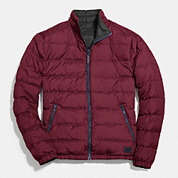 COACH PACKABLE REVERSIBLE DOWN JACKET - RED/GREY - F83743