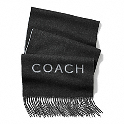 COACH BICOLOR DOUBLE FACED CASHMERE BLEND WOVEN SCARF - BLACK/GRAY - F83758