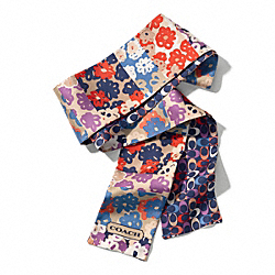 PIECED FLORAL LONG PONYTAIL SCARF - f83766 - MULTICOLOR
