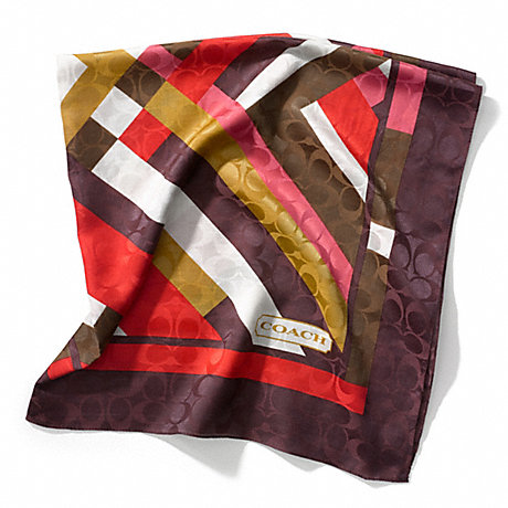 COACH GEOMETRIC COLORBLOCK SQUARE SCARF - BERRY - f83804