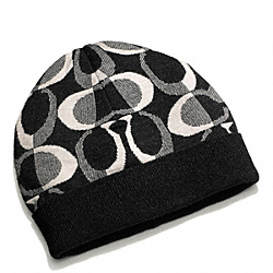 COACH TONAL DREAM C KNIT HAT - BLACK/SILVER - F83840