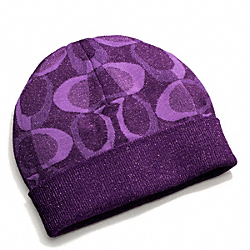 COACH TONAL DREAM C KNIT HAT - VIOLET MARINE/SILVER - F83840