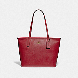 ZIP TOP TOTE - IM/TRUE RED - COACH F83857