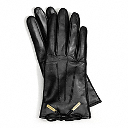 COACH LEATHER BOW GLOVE - BLACK - F83865