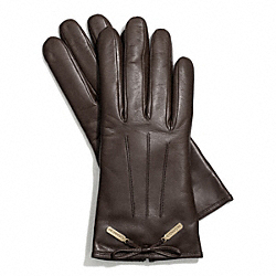 COACH LEATHER BOW GLOVE - CHOCOLATE - F83865