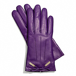 LEATHER BOW GLOVE - GRAPE - COACH F83865