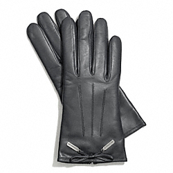 LEATHER BOW GLOVE - GRAY - COACH F83865
