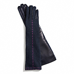 COACH LONG BONNIE STITCH KNIT GLOVE - BLUE - F83876