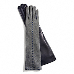 COACH LONG BONNIE STITCH KNIT GLOVE - GRAY - F83876