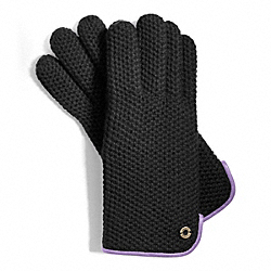 COACH HONEYCOMB KNIT GLOVE - BLACK - F83892