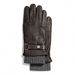COACH 3-IN-1 DEERSKIN GLOVE - MAHOGANY/CHARCOAL - F83898