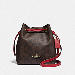 LENA CROSSBODY IN SIGNATURE CANVAS - IM/BROWN TRUE RED - COACH F83959
