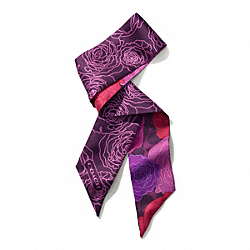 CAMPBELL FLORAL PRINT PONY SCARF - f83968 - BERRY