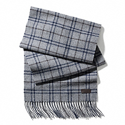 COACH TATTERSALL CASHMERE BLEND SCARF - GREY MULTI - F83988